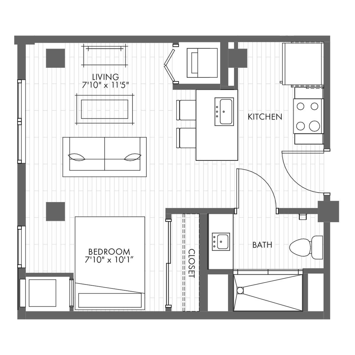 Studio Apartment Home - Style 0B