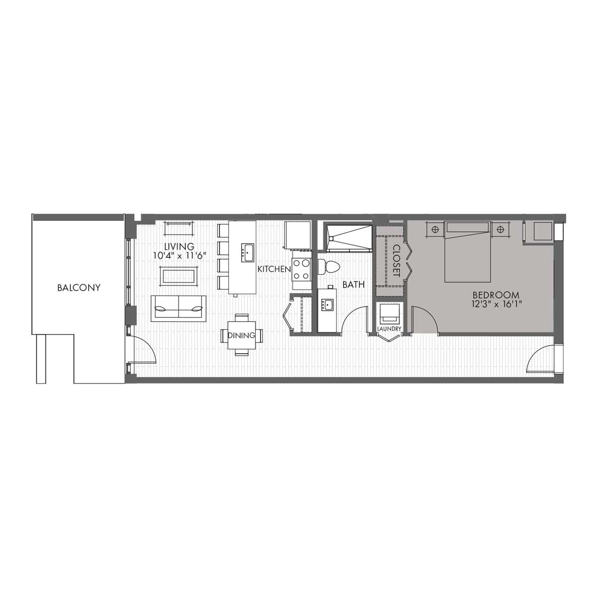 Townhome One Bedroom - Style 1A